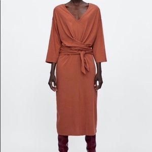 Zara Basic Orange criss cross wraparound dress